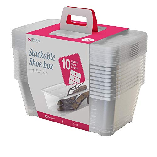 Life Story 5.7-Liter Clear Shoe & Closet Storage Box Stacking Container, 10 ()