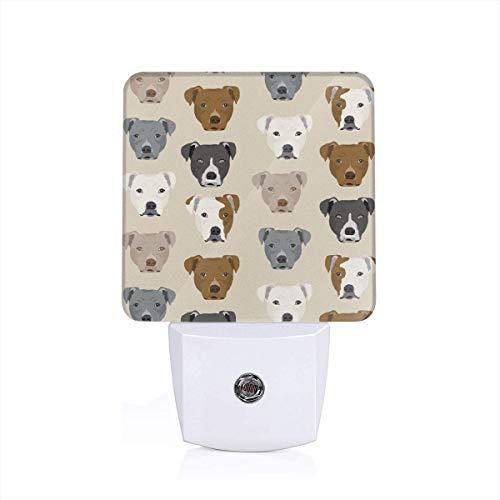 Pitbull Heads Fabric Pitbull Terrier Dog Fabrics - Sand_93Night Lights for Kids Bedroom Hallway 1 Pack - 1 Terrier Fabric