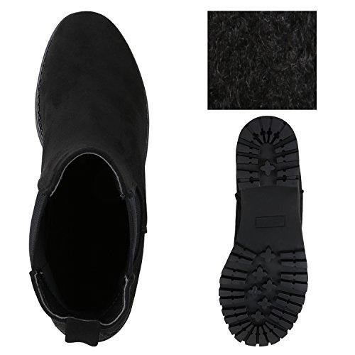 Stiefelparadies Damen Stiefeletten Chelsea Boots mit Blockabsatz Profilsohle Plateau Vorne Flandell Schwarz Avelar
