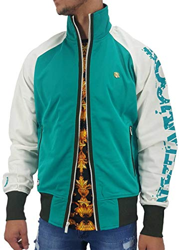 Rocawear Men's Designer Lightweight Zip Up Track Jacket, Tropical Green (Large)