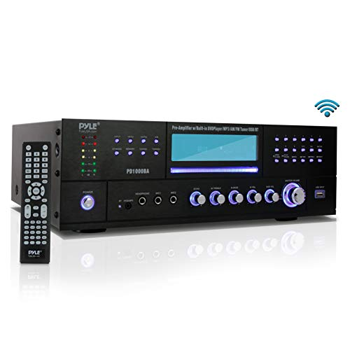 4-Channel Wireless Bluetooth Power Amplifier - 1000W Stereo Speaker Home Audio Receiver w/FM Radio, USB, Headphone, 2 Microphone w/Echo, Front Loading CD DVD Player, LED, Rack Mount - Pyle ()