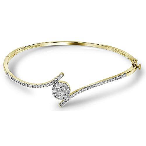 Mia Diamonds 14kt Yellow Gold Womens Princess Round Diamond Soleil Bangle Bracelet (.76cttw) (I1-I2)