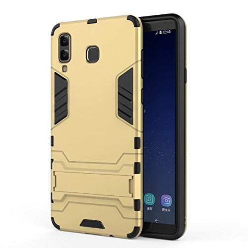 (Samsung Galaxy A8 Star Case + Screen Protector, ZLDECO Shockproof Hard Case Kickstand Function Cover with 1 Tempered Glass Screen Protector Protective for A8 Star Samsung SM-G885F (Gold))