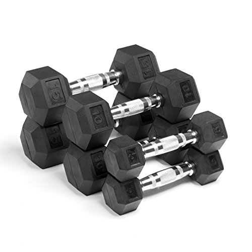 XMark Fitness XM-3301-515-A Rubber HEX Dumbbells