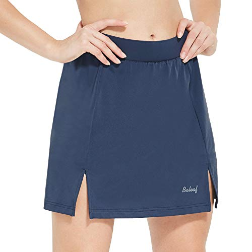 (Baleaf Women's Cycling Skort with 3D Padded Liner Bike Shorts Side Pockets UPF50+ Navy S)
