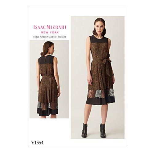 Vogue Patterns V1554OSZ Misses' Pleated, Sleeveless Dress with Yoke and Bands 6-8-10-12-14-16-18-20-22 Orange