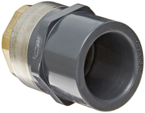 Spears 835-BR Series PVC Pipe Fitting, Adapter, Schedule 80, Gray, 1