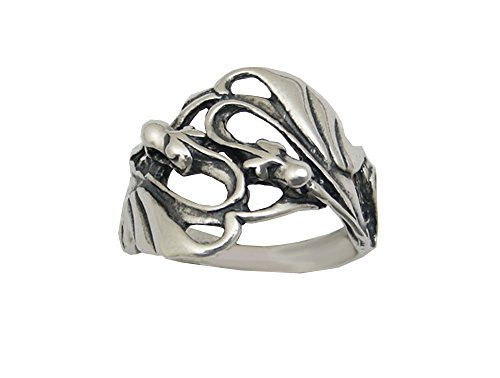 Sterling Silver Double Dragon Ring Size -