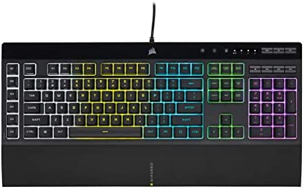 CORSAIR K55 RGB PRO - Dynamic RGB Backlighting - Six Macro Keys with Elgato Stream Deck Software Integration - IP42 Dust and Spill Resistant - Detachable Palm Rest - Dedicated Media and Volume Keys
