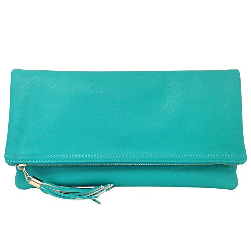 - Faxu Leather Oversize Foldover Clutch with Tassel, Turquoise