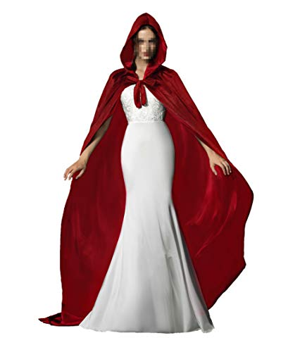 Red Halloween Grim Reaper Hood Cloak Witch Medieval Cape Robe Cosplay Costumes
