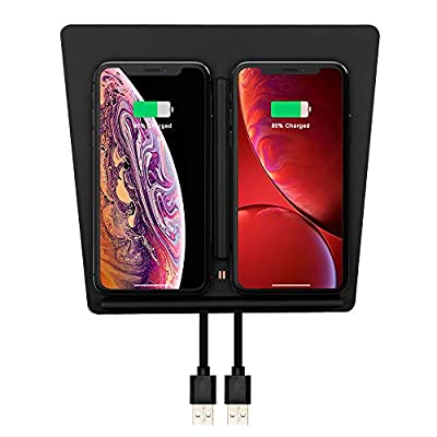 for Tesla Model 3 Wireless Charger, Qook Tesla Model 3 Center Console Charging Pad with Dual USB Ports, Tesla Model 3 Wireless Charger for Any Qi Enable Phone