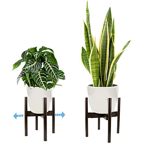 Oak & Boo Adjustable Plant Stand Mid Century Modern for Indoor Outdoor Planters 100% Bamboo Wood  Adjustable Width 9 to 12 Fits Tall and Large Pots (Planter Pot Not Included)