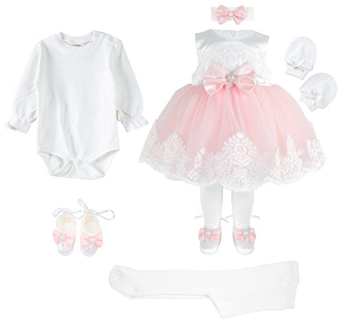 296cd50799 Amazon.com  T.F. Taffy Taffy Baby Girl Newborn Pink Embroidered Princess  Pageant Dress Gown 6 Piece Deluxe Set  Clothing
