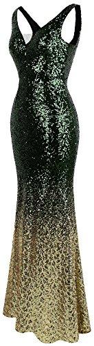 Pente fashions Flapper Vert Or Robe Angel Paillette De Soiree Gatsby Femme EHqAdwf
