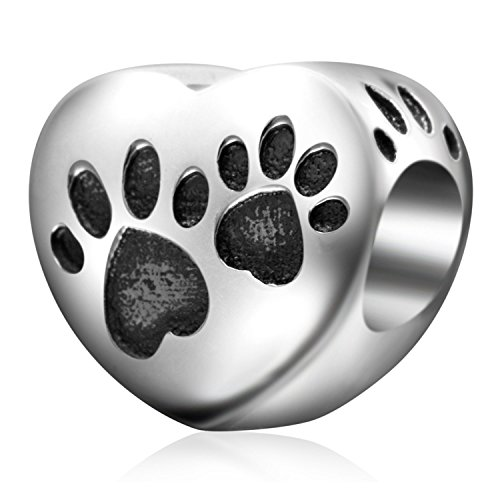 Everbling First Love You Key to Heart Forever Together Dog Paw 925 Sterling Silver Bead Fits European Charm Bracelet (Love Dog Puppy Paw) ()