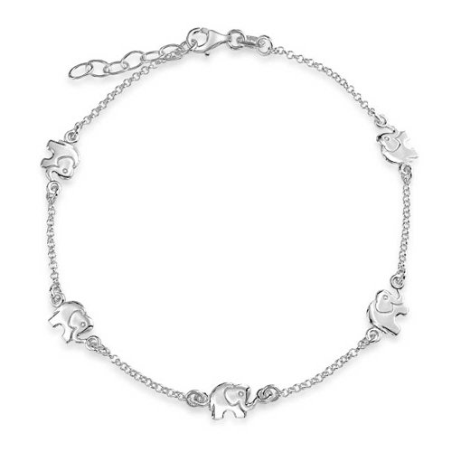 Bling Jewelry Good Luck Elephant Animal Charm Sterling Silver Anklet Bracelet