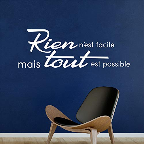 Wall Art Decal Sticker Words Wall Saying Words Removable Mural French Quote Rien N'est Facile Mais Tout Est Possible for Living Room Bedroom for $<!--$15.83-->