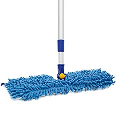 18  Microfiber Floor Mop | Dual Side Different Action Dust Mop Dry to Attract dirt, dust, pet hair Or Damp for a Deeper Clean, Telescopic Aluminum Pole Adjust height max 51