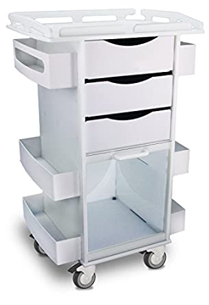"""TrippNT 50924 Polyethylene Core DX Storage Cart with Security-Railed Top and 3"""" Rubber Caster, 23"""" Width x 37"""" Height x 19"""" Depth, 6 Shelves"""