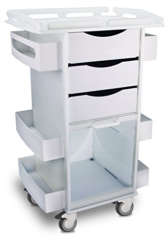 TrippNT 50924 Polyethylene Core DX Storage Cart with Security-Railed Top and 3″ Rubber Caster, 23″ Width x 37″ Height x 19″ Depth, 6 Shelves