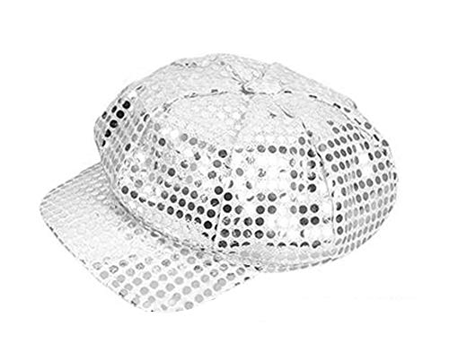 Silver Sequined Newsboy Cabbie Costume Hat