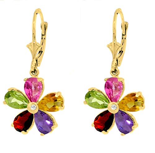 Galaxy Gold 14k Solid Yellow Gold Leverback Flower Earrings with ()