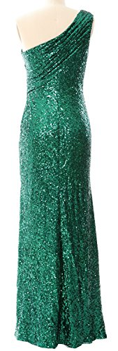 MACloth Women Mermaid Sequin Prom Dress One Shoulder Long Formal Evening Gown Azul