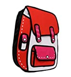 Genius_Baby 3D Jump Style 2D Drawing From Cartoon Paper Bag Comic 3D Shoulders Bag Backpack (Red)