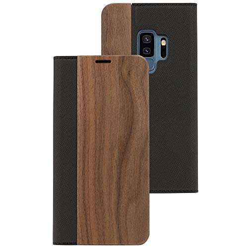 NALIA Wood Flipcase Compatible with Samsung Galaxy S9 Plus, Leather Wallet Phone Cover Slim Back Protector Soft Skin Book-Case Full-Body Shockproof Bumper with Card Slots, Color:Walnut