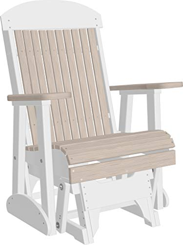 Furniture Barn USA Outdoor High Back Glider Chair with Arms - Birch and White Poly Lumber - Recycled Plastic