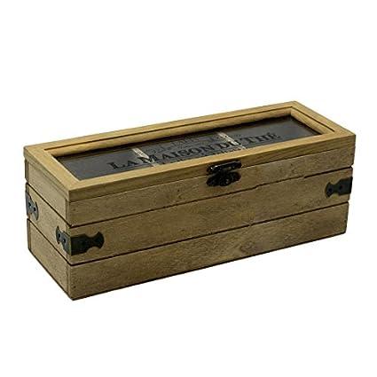 Caja de te para guardar las bolsitas con tres departamentos estilo rustico