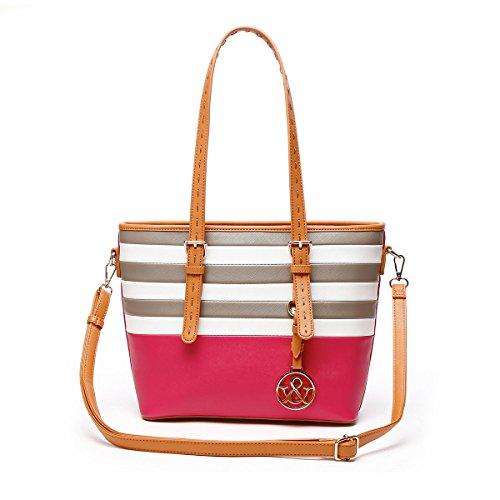 Handbag Color Pink Multi (HNA Classic Multi Color Striped Top Handle Tote Bag)