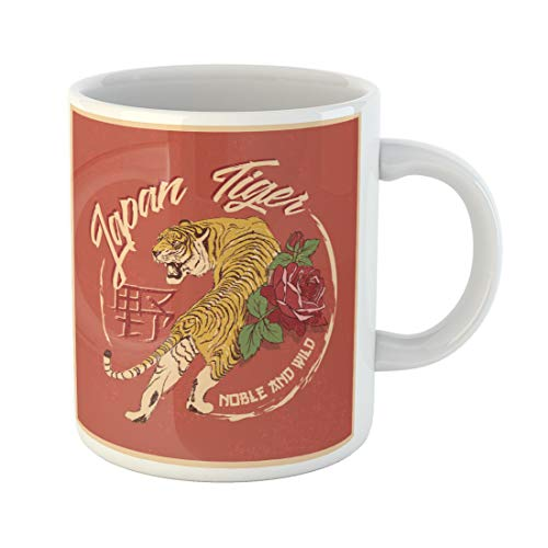 - Emvency Funny Coffee Mug Red Asian Tiger and Flowers Patch Vintage Celebration China Chinese Culture 11 Oz Ceramic Coffee Mug Tea Cup Best Gift Or Souvenir