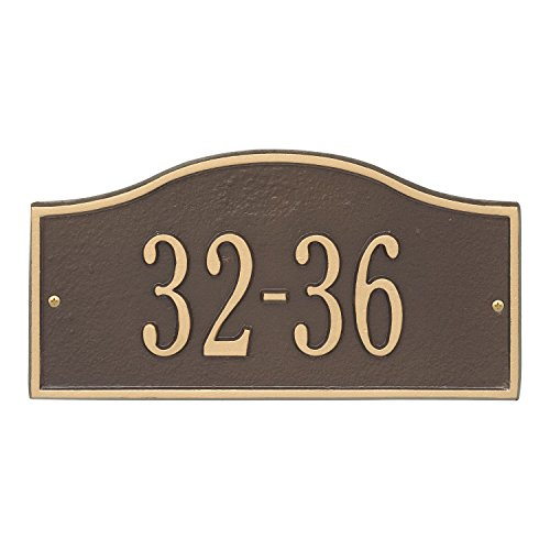 Whitehall Personalized Cast Metal Address Plaque - Small Rolling Hills Custom House Number Sign - 12'' x 6'' - Allows Special Characters - Bronze/Gold by Whitehall (Image #1)