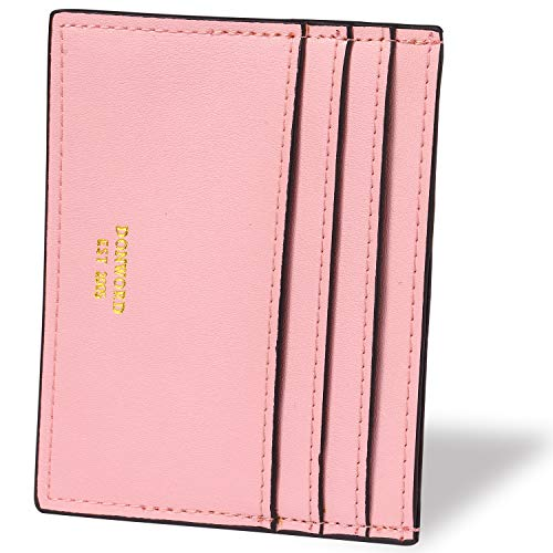 DONWORD RFID Slim Leather Card Case Wallet Minimalist Credit Card Holder Money ()