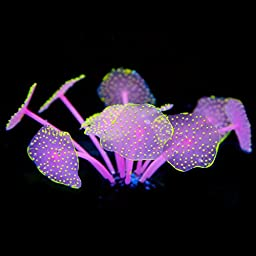 Uniclife Silicone Coral Plant Decorations Glowing Artificial Ornament for Fish Tank Aquarium, Yellow, Ball shape