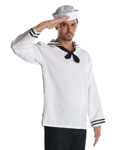 [Rubie's Costume Heroes And Hombres Adult Man Of The Sea Shirt And Hat, White, Standard] (Male Sailor Costumes Halloween)