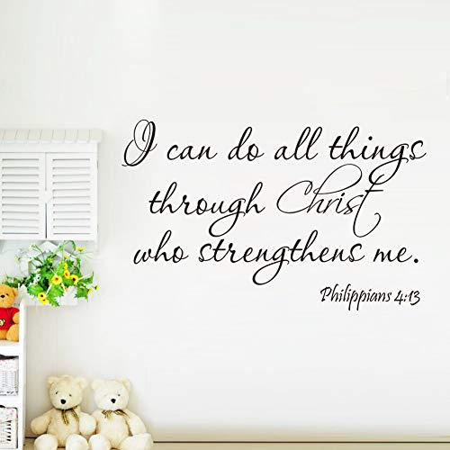 (Wall Sticker Lettering Wall Art Sticker Removable Letters Quote Art Philippians 4:13 I Can Do All Thing Christ Bible Verse Religious Wall)