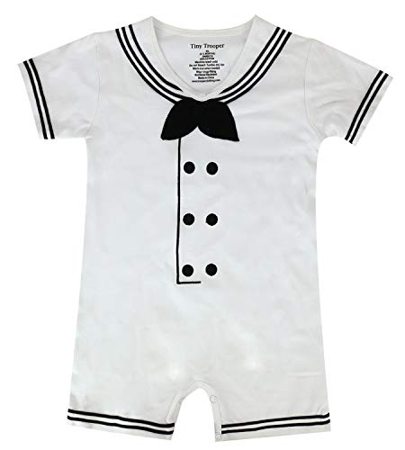 Trendy Apparel Shop Sailor Dapper Cracker Jack Infant Romper Jumper Pajama - White - 9-12 Months
