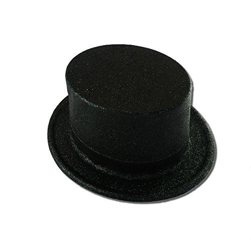 Black Plastic Top Hat - Unisex-Adults Glitter Top Hat, Black,