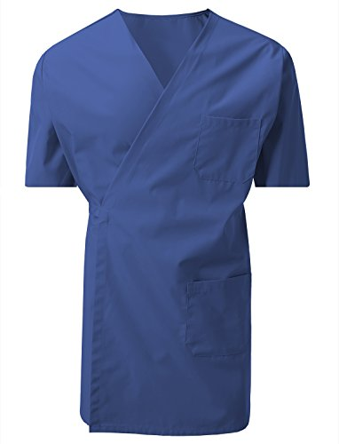 7 Encounter 7Encounter Unisex Multifunctional Short Sleeves Wrap Smock With Chest and Side Pockets Royal Blue Size 2XL/3XL Wrap Around Smock