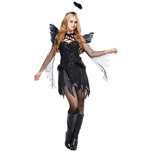 Extremely Scary Halloween Costumes (Dolloly Halloween Adult Costumes Dark Angel Cosplay Dress Sexy Halloween Costumes)