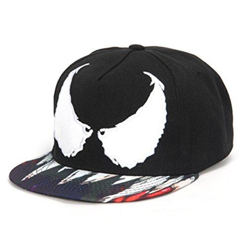 Xuzirui Venom Spider Hip Hop Hats Cool Flat Eaves Baseball Hoods Cotton Cap Snapback Hat (Black)