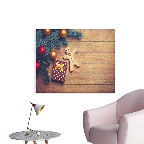 Anzhutwelve Gingerbread Man Photographic Wallpaper Pine Branches Delicious Cookie and Present on Wood Planks Wall Poster Pale Brown Hunter Green Red W32 xL24 for $<!--$31.00-->