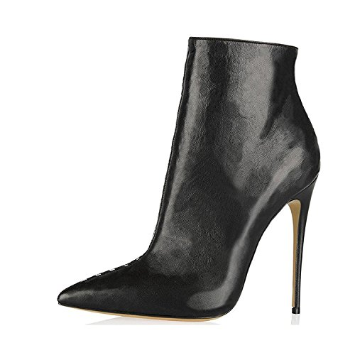 Jushee Booties Ankle Boots for Women Dress Pointed Toe Stiletto High Block Heels Shoes Pumps Black 5 UK
