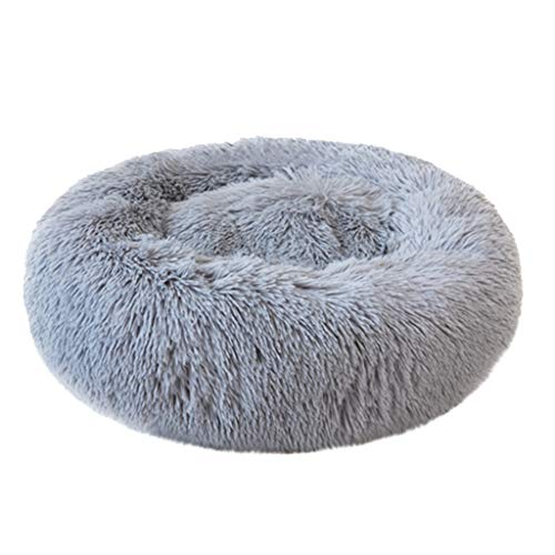 Transser- Orthopedic Pet Bed – Ultra Soft Comfortable Calming Shag Fur Donut Cuddler Winter Warm Thick Cushion Sleeping Nap House Washable Beds for Cats, Puppy, Small Medium Dogs (Gray, S)