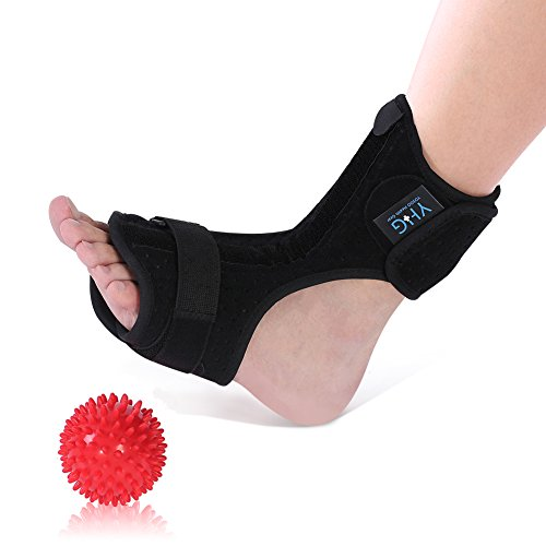 Adjustable Plantar Fasciitis Dorsal Night and Day Splint for Heel Pain Relief Drop Foot Orthotic Brace for Sleep Support Fits Left and Right Foot with Hard Spiky Massage Ball, Men Women (Plantar Fasciitis Splint)