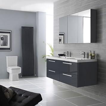 Badschrank grau hochglanz cool grau hochglanz badschrank for Klebefolie rot hochglanz