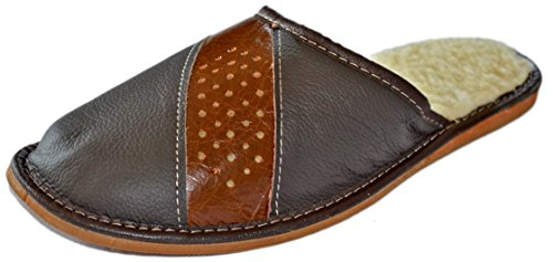 Reindeer Leather I Men's Warm Winter House Slippers Scuffs (8.5, (Reindeer Leather)